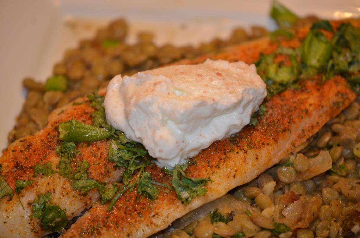 Fish on Lentils