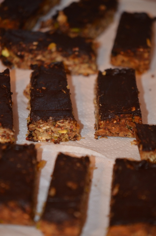 The recipe yields 12-16 bars, depending on how generous the slices.
