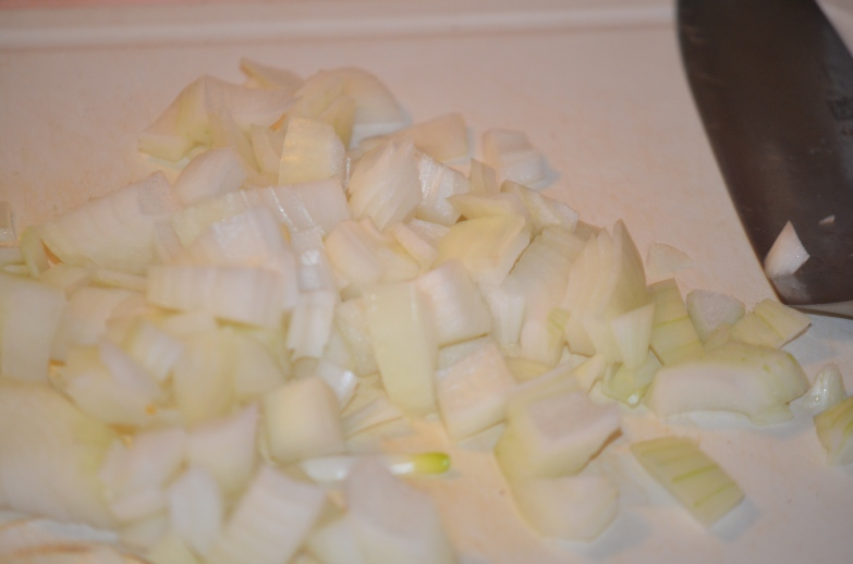 Raw Onions Ready to Sautée.