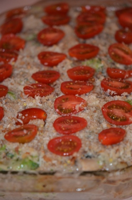 Top with Tomatoes, Salt and Pepper..