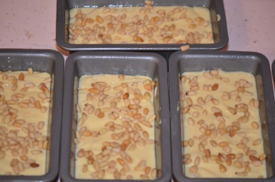 Pine Nuts Sprinkled on Batter