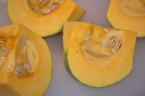 Kabocha squash, cut in fourths.