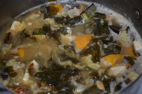 The crowning glory joins the pot: roasted kobacha squash.